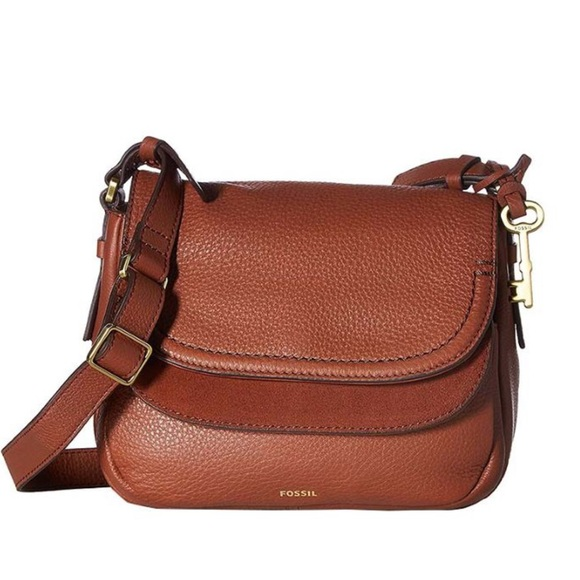51e00847d45 Fossil Handbags - Fossil Peyton Small Leather Crossbody Cognac